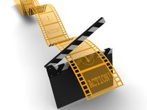 Strip film. A conceptual strip of film with action and numbers on frames - 3d render Royalty Free Stock Images