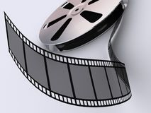 Strip film reel. Conceptual strip film and reel on white background - 3d render stock illustration