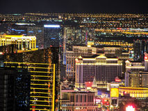 The Strip of Las Vegas - Hotels Aerial night View Without Hotels names.  Stock Image