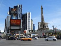 Strip Las Vegas Nevada America - Road cars and famous hotels stock photography