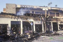 Strip mall burned out during 1992 riots, South Central Los Angeles, California Stock Image