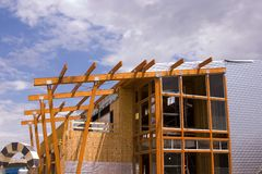 Strip Mall Restaurant Roof Construction Site royalty free stock photo