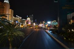 The Strip, New York-New York Hotel & Casino, metropolitan area, night, road, city royalty free stock photos