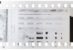 Strip of old, used and bad developed celluloid film Stock Photography
