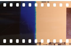 Strip of the poorly exposed and developed celluloid film Stock Image