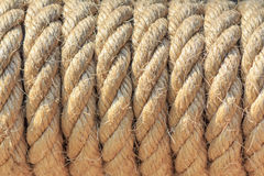 Strip of raw old rope texture background Royalty Free Stock Photos