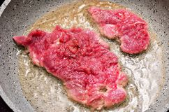 Strip Steak on the Pan Stock Images