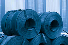 Strip steel raw material in a factory Royalty Free Stock Photos