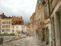 The strip street of the croix rousse district,  Lyon old town, France Royalty Free Stock Images