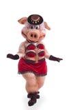 Strip-tease de danse de costume de mascotte de porc dans le chapeau Images libres de droits