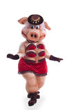 'strip-tease' de la danza del traje de la mascota del cerdo en sombrero Imágenes de archivo libres de regalías