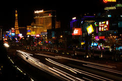 The Strip, Vegas. Long exposure of car's driving down the Las Vegas Strip Royalty Free Stock Images