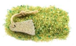 Stripe предпосылка зеленого цвета b больших кристаллов соли красочного желтого Стоковые Фото
