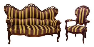 Stripe baroque rokoko sofa and chair Royalty Free Stock Image