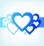 Stripe of blue hearts Royalty Free Stock Image