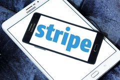 Stripe company logo. Logo of Stripe company on samsung mobile on samsung tablet. Stripe is a US technology company operating in over 25 countries, that allows royalty free stock images
