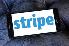 Stripe company logo. Logo of Stripe company on samsung mobile. Stripe is a US technology company operating in over 25 countries, that allows both private royalty free stock image