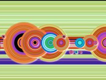 Stripe crop circle techno. A collection of techno multi colored circles with a modern twist stock illustration
