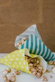 Stripe and Dots Package of Chocolate Popcorn Movie Concept Stock Image