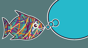 Stripe fish. Fish with abstract multicolor lines. Vector clip art Stock Photos