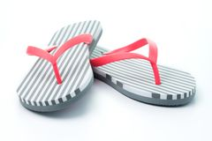 Flip flops isolated on white background. Stripe flip flops isolated on white background stock photo