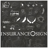 Stripe icon of Insurance drawn on chalkboard Royalty Free Stock Photos