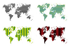 Stripe Lines Pattern World Map  Stock Image
