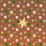 Stripe pattern in copper with snowflakes, stars Stock Photos