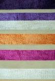 Stripe pattern fabric texture. Orange white blue Royalty Free Stock Photos