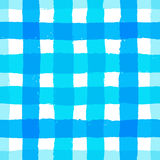 Stripe Pattern Gingham Blue Brush Strokes. Painted gingham pattern. Seamless brush stroke lines. Sketchy hand drawn graphic print. Grunge vector design. White Stock Image