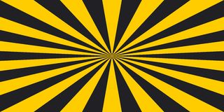 Stripe rays safety warning dangerous pop art style background, vector sign yellow and black rays, glow, Hazard symbol stripe rays Royalty Free Stock Photos