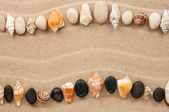 Stripe of sea shells and stones lying on the sand Stock Photos