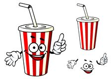 Stripe soda or juice  cup with happy face and Royalty Free Stock Photos