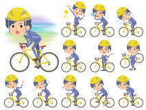 Stripe suit perm hair men on rode bicycle. Set of various poses of Stripe suit perm hair men on rode bicycle Royalty Free Stock Image