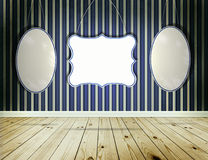 Stripe wallpaper background with vintage tags frame Royalty Free Stock Photo