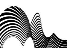 Stripe wave background design with black and white lines. 3d optical op art. Vector illustration royalty free illustration