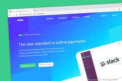 Stripe website. Accept online payments for your internet business stock photo