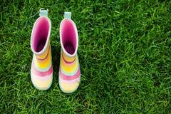 Striped ботинки дождя Стоковое Изображение RF