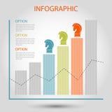 Striped вектором диаграмма роста бара Стоковые Изображения