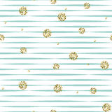 Striped голубая и белая безшовная картина с золотыми точками польки shimmer Стоковая Фотография RF