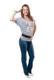 striped джинсыами женщины тельняшки Стоковое Изображение RF