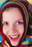 striped женщина свитера Стоковая Фотография