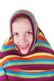 striped женщина свитера Стоковые Фотографии RF
