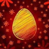 Желтое пасхальное яйцо над коричневой старой бумажной предпосылкой с цветками Стоковые Изображения RF