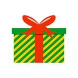 Striped зеленым цветом иллюстрация вектора подарочной коробки Стоковые Изображения RF