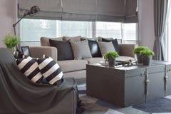 Striped и черные кожаные подушки на софе в современной живущей комнате Стоковое Изображение RF
