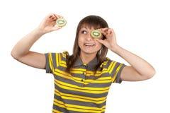 striped киви девушки глаза ткани Стоковые Изображения RF