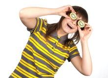 striped киви девушки глаза ткани Стоковая Фотография