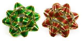striped красный цвет смычков зеленый Стоковая Фотография