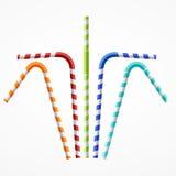 Striped красочные выпивая установленные соломы вектор Стоковые Изображения RF